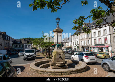 Huelgoat town centre, Brittany, France, Europe. - Stock Image