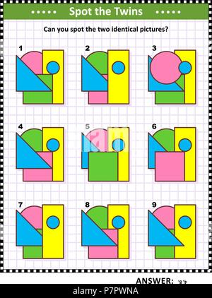 IQ training educational math puzzle for kids and adults with basic shapes - triangle, rectangle, circle, square - overlays and colors. - Stock Image