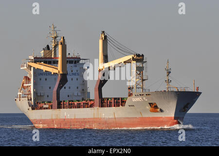 General cargo vessel Janet C bound for the Kiel canal. - Stock Image
