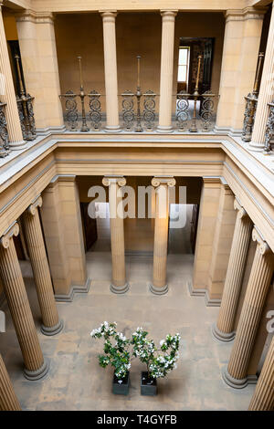 The Pillar Hall reception area at Belsay Hall, an early 19th Century mansion house, in Northumberland, England, UK - Stock Image