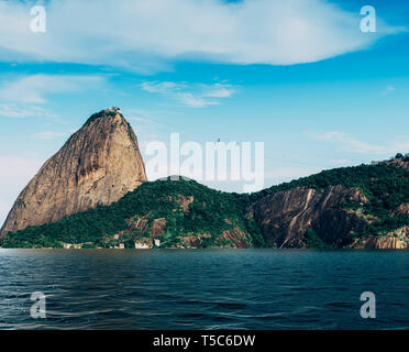 Digital composite of flooded SugarLoaf Mountain in Rio de Janeiro, Brazil - global warming rising sea levels environmental damage concept - Stock Image