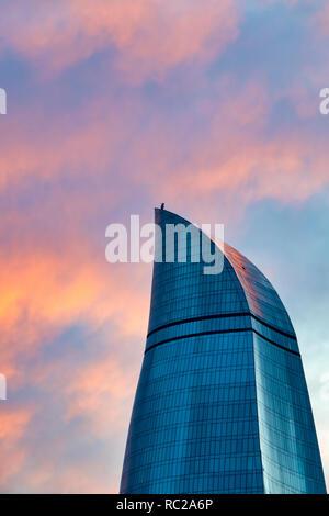 Detail of the Flame Towers at sunset, Baku Azerbaijan - Stock Image