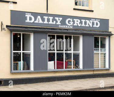 Exterior of the 'The Daily Grind' coffee shop cafe, Oakham, Rutland, England, UK - Stock Image