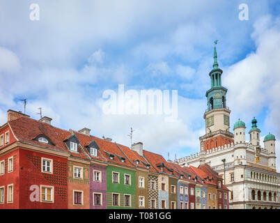 Poznan Old Town colorful houses and Town Hall architecture, Poland. - Stock Image