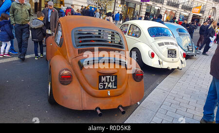 Regent Street, London 3 November 2018 - A collection of Beetles to mark Beetle's 80th birthday at the Motor Show on Regent Street. London's premier shopping destination was transformed into the country's biggest free-to-view motor show as Regent street was pedestrianised for the day's event on 3 November. The show included electric cars, to vintage and classic cars and attracted more than 500,000 visitors. Credit: David Mbiyu /Alamy Live News - Stock Image