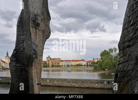 artwork Titáni sculpture (Emilie Benes Brzezinski) at Kampa Museum on the riverside of Vltava river, Prague, Czech Republic - Stock Image