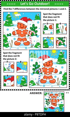 New Year or Christmas visual puzzles with ginger man. Find the differences between the mirrored pictures. Spot the wrong fragments. Answers included. - Stock Image