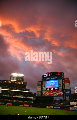 Dramatic clouds above Citi Field after a rain delay, Queens, NY, USA - Stock Image