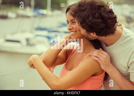 Couple looking at scenery - Stock Image