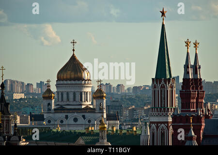 MOSCOW, AUGUST 8, 2018: Moscow city, Cathedral of Christ the Savior, Nikolsky (St. Nicholas) tower of the Kremlin, spires of the Museum of Russian His - Stock Image