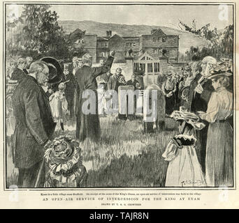 People praying for King Edward VII recovery from appendicitis, Eyam, village near Sheffield, 1902 - Stock Image