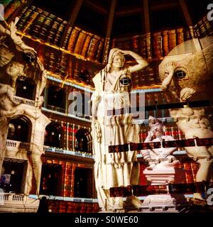 Light projections in Victorian State Library for White Night Festival in Melbourne Victoria Australia - Stock Image