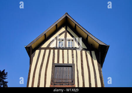 Wooden framed house in Fougères, Brittany, France - Stock Image