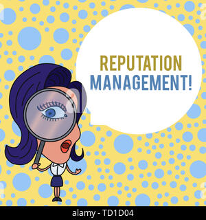 Word writing text Reputation Management. Business photo showcasing Influence and Control the Image Brand Restoration Woman Looking Trough Magnifying G - Stock Image
