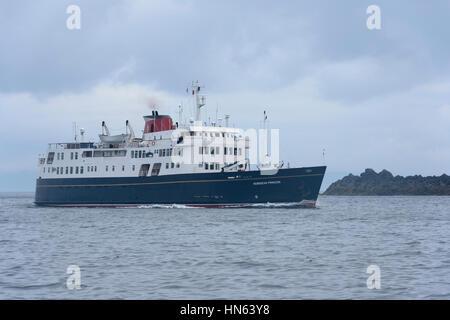 "Cruise ship ""Hebridean Princess"" near the isle of Rum in the Small Isles, Scotland. June 2014. - Stock Image"