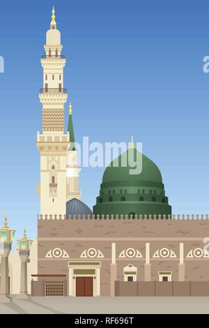 A vector illustration of Al-Masjid An-Nabawi Mosque in Medina - Stock Image