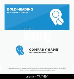 Location, Map, Marker, Pin, Medical SOlid Icon Website Banner and Business Logo Template - Stock Image