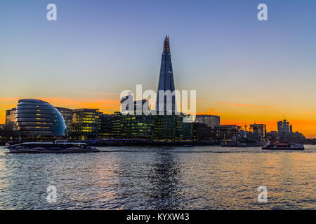 City Hall and The Shard, Embankment / River Thames, London - Stock Image