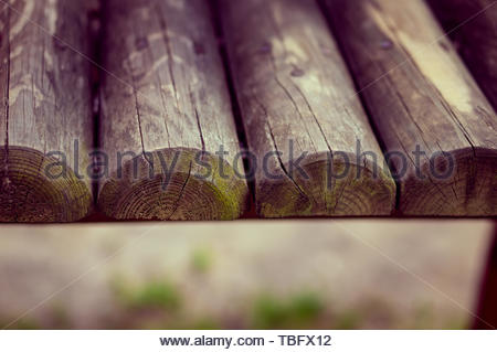 Wooden old planks of a playground equipment.  - Stock Image