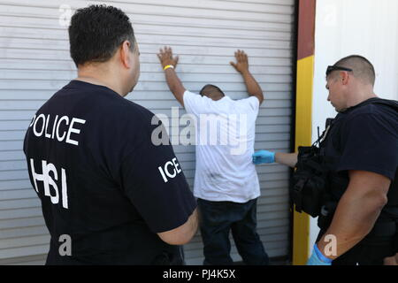 ICE executes federal criminal search warrants in North Texas - Stock Image