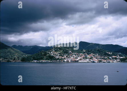 View upon capital Saint Georges from sea; Grenada, West Indies. - Stock Image