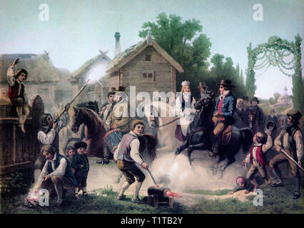 A 19th Century wedding party arriving on horseback in Småland, a historical province in southern Sweden. - Stock Image
