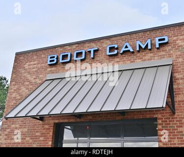 Boot Camp sign above a new fitness center or workout gym or health club in Montgomery Alabama, USA. - Stock Image