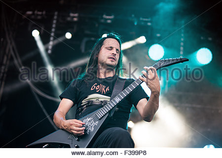 Heavy Metal band Gojira performing live : guitar player Christian Andreu - Stock Image