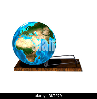 globe in the trap - Stock Image
