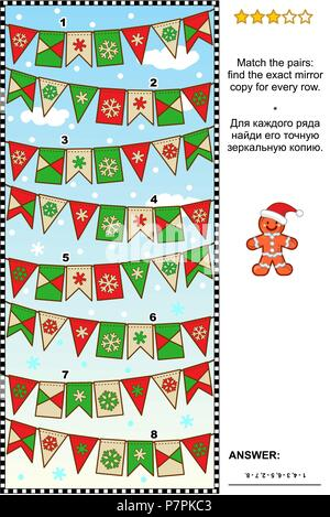IQ training winter, Christmas or New Year themed visual logic puzzle: Find the exact mirrored copy for every row of bunting flags. - Stock Image