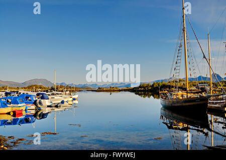 Small boat harbor in Ringstad on island Langøya (Vesterålen) in northern Norway. - Stock Image