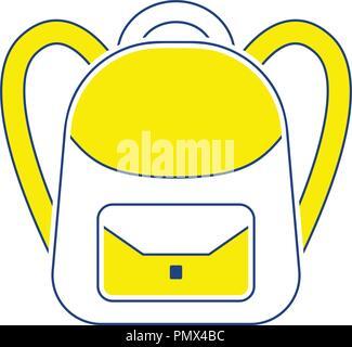 Icon of School rucksack. Thin line design. Vector illustration. - Stock Image