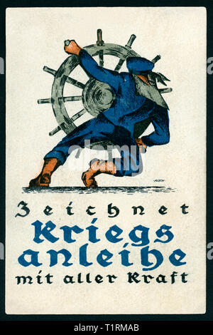 Germany, Berlin, WW I, propaganda, patriotic postcard with the text: 'Zeichnet Kriegsanleihe mit aller Kraft' (sign war loans with all power), artist probaly Arthur Koch (1862-1936). , Additional-Rights-Clearance-Info-Not-Available - Stock Image