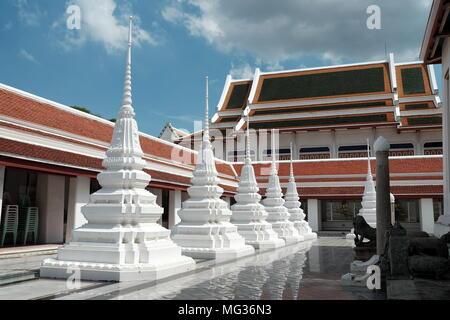 White Stupa at Wat Ratcha Orot Temple, Bangkok Thailand. - Stock Image