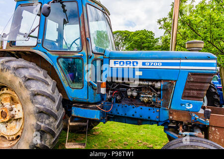 Blue Ford tractor at Northumberland County Show, 2018. - Stock Image