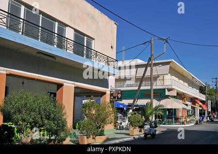 a street of Lakki in Leros island, Greece - Stock Image
