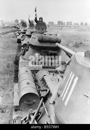 A Bulgarian Army tank column during an exercise - Stock Image