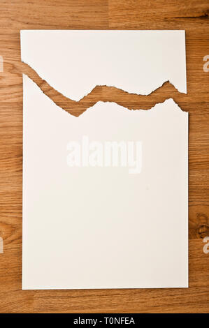 white blank paper ripped - Stock Image