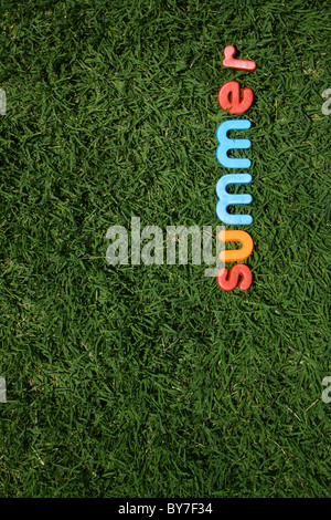 The word 'summer' spelled out in colourful plastic letters, on green grass, taken from a low angle - Stock Image
