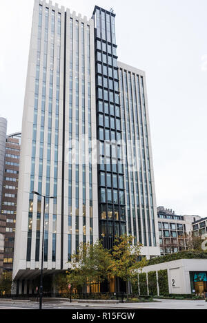 2 London Wall Place, a recently completed office building at London Wall in the City of London, England, UK - Stock Image
