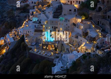 Beautiful Oia village , Santorini at night - Stock Image
