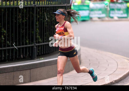 Tish Jones competing for Great Britain in the Elite Women's  2019 London Marathon.  She went on to finish 16th in  a time of 02:31:00 - Stock Image