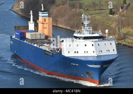 RO-RO-Vessel Bore Bay passing the Kiel Canal - Stock Image