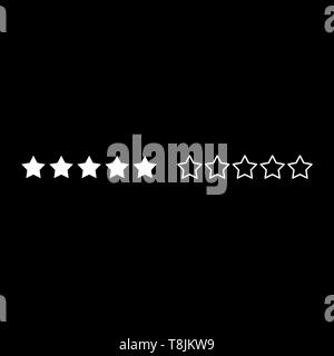 Five stars 5 stars rating concept icon outline set white color vector illustration flat style simple image - Stock Image