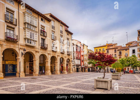 Old houses around the market square in Logrono, La Rioja, Spain. - Stock Image