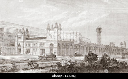 Crystal Palace (High Level) railway station, Camberwell,  south London, England, seen here in 1865. One of two stations built to serve the site of the 1851 exhibition building, called the Crystal Palace, when it was moved from Hyde Park to Sydenham Hill after 1851.  From The Illustrated London News, published 1865. - Stock Image