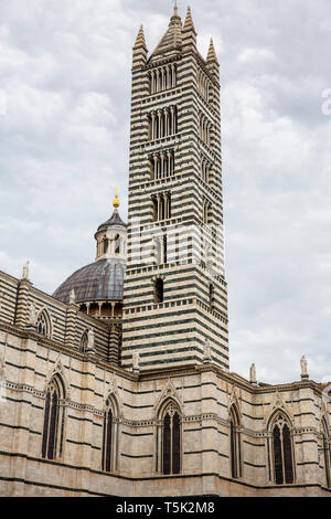 Bell tower of the Cathedral of Siena, historic city,Tuscany,Italy - Stock Image