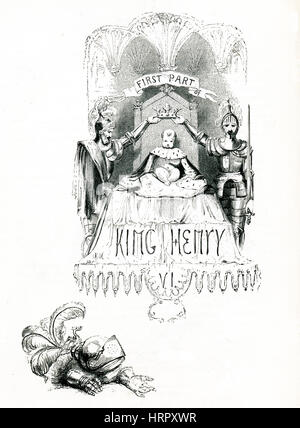 Henry VI, Part 1, Victorian book frontispiece for the play by William Shakespeare from the 1849 illustrated book - Stock Image