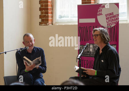 Thurston Moore of Sonic Youth interviewing musician and composer David Toop at the 2018 Stoke Newington Literary Festival in Hackney, East London - Stock Image
