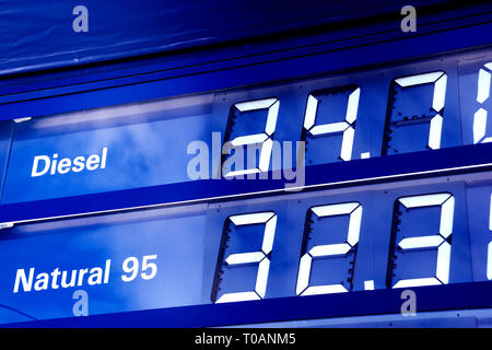 display with prices of Natural and Diesel fuel at a filling station in Czech republic - Stock Image